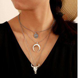 New! Women's Boho Country Silver Necklace